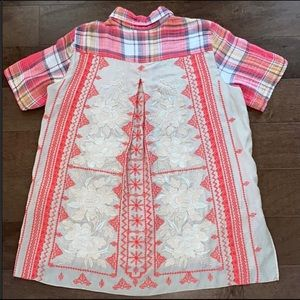 Johnny Was Red Plaid Top with Back Embroidery, L